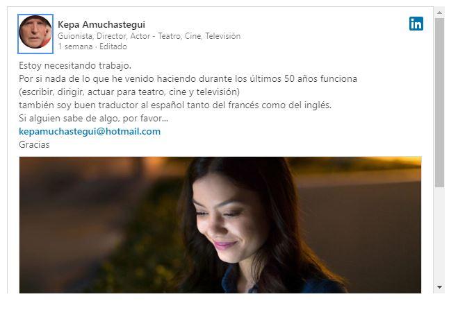 Kepa Amuchastegui se encuentra buscando trabajo - Imagen 1