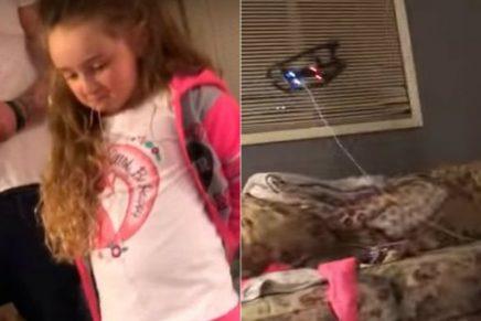 Padre extrae el diente de su hija con un drone