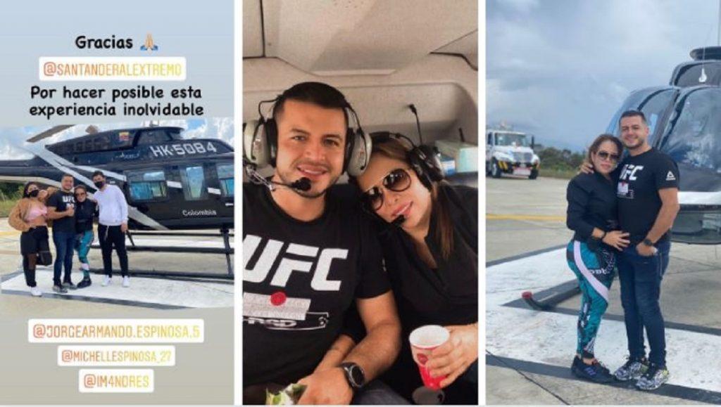 Sandra Barrios, exposa de Jessi Uribe, presume a su novio con viaje en helicóptero