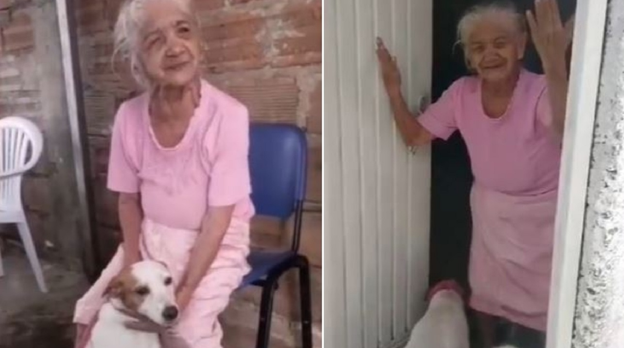 Abuelita de 92 años enternece en redes al reencontrase con su amada mascota